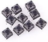 Buyincoins 100Pcs 4-Pin Mini Momentary Tactile Push Button Switch 6mm x 6mm x 5mm