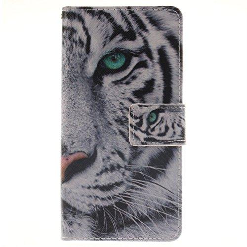 KATUMO® Sony Xperia M5 Case, [Wallet Case][Flip Cover] Premium PU Leder Handytasche Lederhülle für Sony Xperia M5 Handyhülle Brieftasche Leder Book Style Etui Tasche mit Kickstand und Credit Card, Weiß Tiger