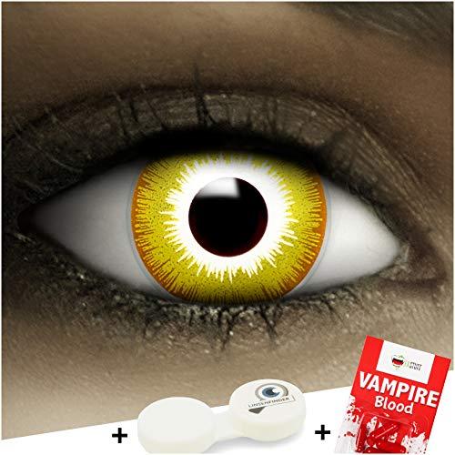 Farbige gelbe Kontaktlinsen Avatar + Kunstblut Kapseln + Behälter von FXCONTACTS®, weich, ohne Stärke als 2er Pack - perfekt zu Halloween, Karneval, Fasching oder Fasnacht