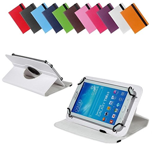 BRALEXX Universal 360° Tablet Tasche passend für Blaupunkt Polaris 808, 7 Zoll, Weiß