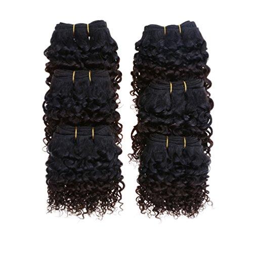 Emmet 6pcs / lot kurze Ombre Perücken 300g 50g / pc brasilianische kurze Größe 2-Ton weben Haar-Arten 7A Kinky lockige (Für Langes Lockiges Haar Ideen)