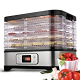 Food Dehydrator with Temperature Controller, Fruit-Meat Dryer with Timer, 5 Tray Digital Dehydrator