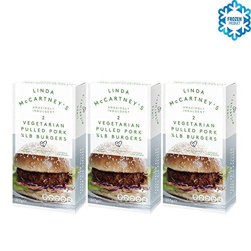LINDA McCARTNEY Hamburguesas de Cerdo Tiradas Vegetarianas 1 / 4lb (VEGANO) 227GR Congelado Pack de 3