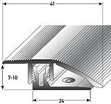 Alu Höhenausgleichsprofil mit APL-Klicksystem - 90cm, silber ✓ 7-10mm ✓ Schrauben ✓ Übergangsprofil für Laminat, Parkett & Teppich | Übergangsleiste, Bodenprofil für Fußböden | Übergangsschiene, Anpassungsprofil, Türschiene mit stufenlosem Ausgleich