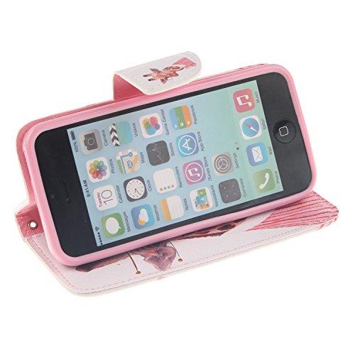 MOONCASE iPhone 5C Coque, Printing Series Case Étui en Cuir Portefeuille Housse de Protection Etui à rabat Cover pour Apple iPhone 5C TX14 TX07 #0401