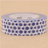 Nastro adesivo decorativo Washi mt fiori bianchi e blu