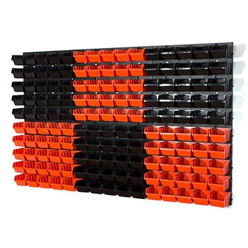 150 Mülleimer mit Wandbefestigung, Größe XS, Orange/Schwarz