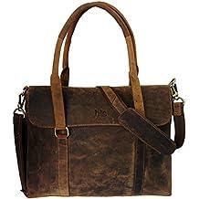 HLC en cuir de buffle Messenger faite à la main Sac Sacoche pour ordinateur portable sacoche rembourrée Sac à bandoulière Sac d'école 40,6x 30,5x 10,2cm Marron