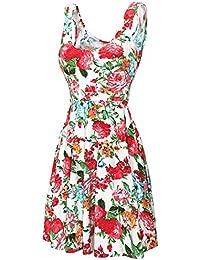 DJT Damen Vintage Sommerkleid Traeger mit Flatterndem Rock Blumenmuster