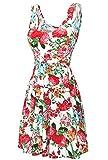 DJT Damen Vintage Sommerkleid Traeger mit Flatterndem Rock Blumenmuster Weiss S