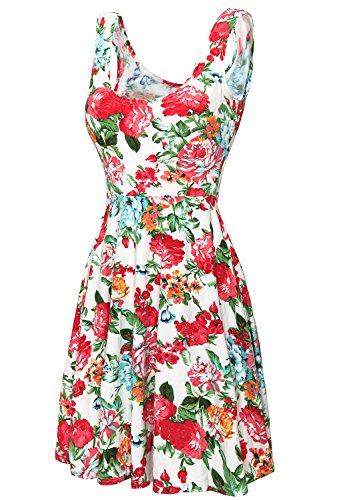 DJT Damen Vintage Sommerkleid Traeger mit Flatterndem Rock Blumenmuster Weiss M (Tunika Print Vintage)