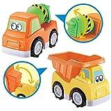 deAO Camion Ribaltabile e Camion Betoniera per Sabbia e Spiaggia Set di 2 Autocarro Giocattolo per Bambini