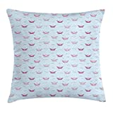 vnsukdlfg Ship Throw Pillow Cushion Cover, Paper Boats in Colors Pink and Purple Floating on Blue Water Origami Cartoon Style, Decorative Square Accent Pillow Case, 18 X 18 inches, Multicolor