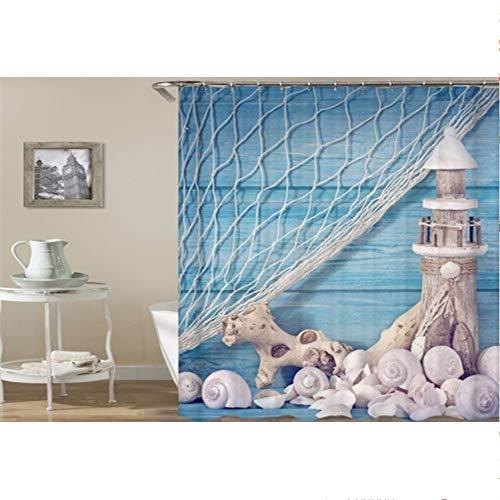 (hysxm Seashell Duschvorhänge Bad Vorhang Set 3D Print Maßgeschneiderte Wasserdichte Polyester Bad Bildschirm-180(H)*180(W) cm)