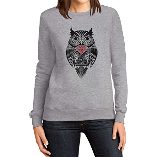 Diamant Eule / Diamond Owl Dope SWAG Hipster Damen Grau Medium Sweatshirt Diamond-pullover Für Frauen