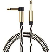 """Mugig Câble Guitare d'instrument  Tweed Tressé Jack-Jack Coudé Mono pour Electronique Basse 1/4"""" (6.35mm)"""