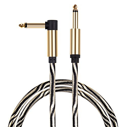 Mugig Professional Cable for Guitar / Bass/ Electronic Organ -10 ft / 3m Instrument Cable 1/4'' (6.35mm) Upgraded Type Tweed Braid Jacket Zinc Alloy Nickel Planting Golden & Black Style
