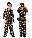 Costume Militare Bambino vestito carnevale costumino Mimetica Assalto Soldato Armata Colore Marrone Taglia XL 10 11 anni travestimento Halloween Cosplay ottimo come regalo per natale o compleanno