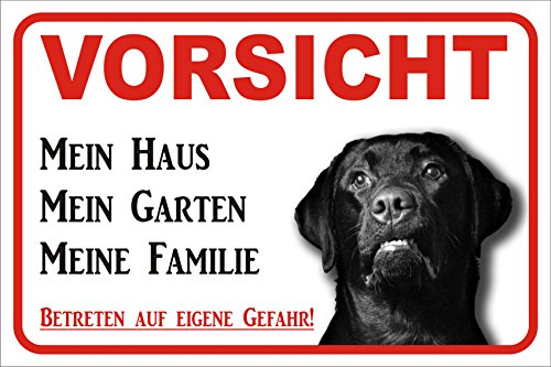 Schild - Vorsicht SCHWARZER Labrador Retriever