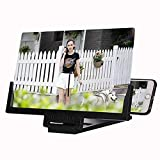 12 '' Bildschirm-Vergrößerungsglas-Smartphone-Vergrößerungsglas, stereoskopisches Telefon-Bildschirm-Vergrößerungsgerät, Handy-HD-Film-Videoprojektor-Verstärker mit faltbarem Halter für alle Smartphon