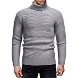 Herren Langarm Pullover, Frashing Rollkragenpullover für Herren im Herbst und Winter Strickpullover Warmer Pullover Langärmeliges T-Shirt Rundhalsausschnitt Basic Sweater