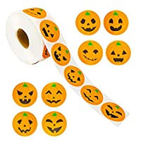 Rorchio 1000pcs Pumpkin Stickers Halloween Roll Stickers with 8 Style Face for Halloween Party Decoration