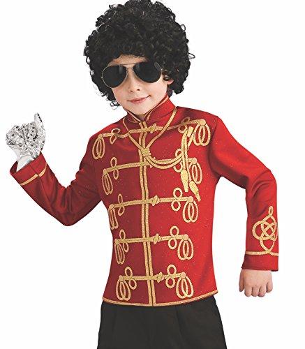 Michael Jackson Zubehör Kostüm - T-Shirt Uniform Michael Jackson TM in Rot für Jungen - 3-4 Jahre