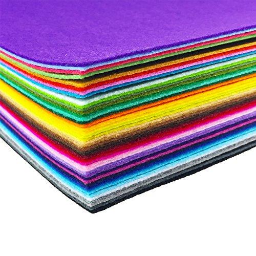 (44sortierte, farbige Filzstoff-Blätter von flic-flac für Patchwork Nähen Selbermachen Basteln, 1mm dick, Filz, mehrfarbig, 20 x 30 cm)
