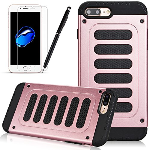 Coque iPhone 6 6S, HB-Int 3 en 1 Coque iPhone 6 6S (4.7 pouces) Housse Etui [Tough Armor] Ultra Fine Case Arrière Housse TPU Silicone Cover + [Protection Extreme] Rugged Slim Dual Layer Protective PC  Or Rose