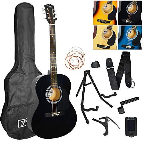 3rd Avenue STX10ABKPK2 Akustikgitarren-Set für Anfänger mit Gigbag, Plektren oder Plektren und Ersatz-Saiten, Ständer, Gurt, Tuner, Kapodaster und Saitenkurbel - Schwarz