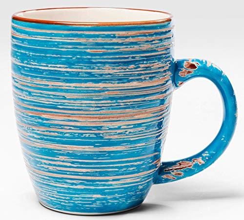 Kare Tasse mit Henkel Swirl blau handgemacht Kaffeebecher