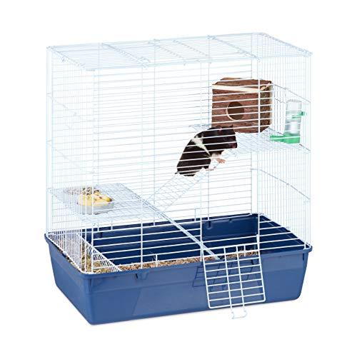 Relaxdays Hamsterkäfig groß, Villa für Nager, 3 Ebenen, mit Rampen, Türen, Metall Kleintierkäfig, 70 x 68 x 44 cm, blau
