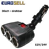 Eurosell 12 / 24 Volt Zigarettenanzünder Buchse Y 3er Weiche Verteiler Stecker KFZ Auto LKW - beweglicher Winkelstecker Winkel Stecker Steckdosen