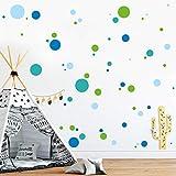 Wandtattoo Deko Kreise (4farbig) 70 Stück Punkte Aufkleber im Set - Lindgrün Türkis Hellblau und Enzian