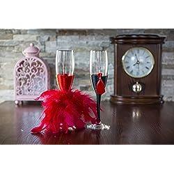 Copas novios boda color rojo Tamaño 5x22.5 cm