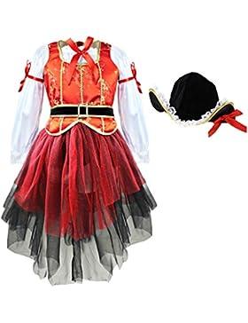 iEFiEL Disfraces de Princesa Pirata para Carnaval Vestidos de Fiesta con Sombrero para Niña