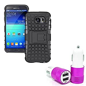 Aart Hard Dual Tough Military Grade Defender Series Bumper back case with Flip Kick Stand for Samsung S6EDGERotating+ Car Charger With 2 Fast Charging USB Ports by Aart Store.