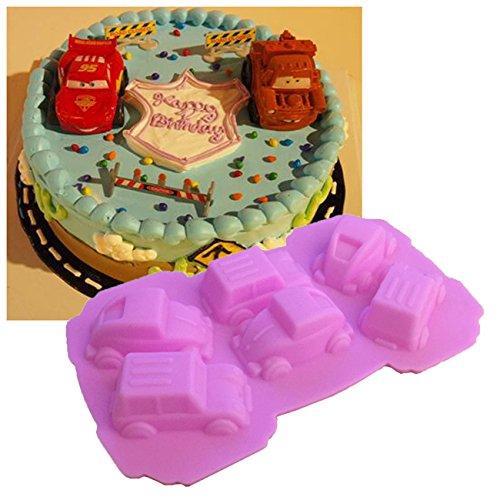 Geburtstag Kuchen Dekoration 6 Mini Autos Silikonform Seifenformen Eiswürfel Fondant Gießform Silikon Seifenform für Schokoladen Seife Gelee Muffin (Mini-kühlschrank Und Eine Mikrowelle Stehen)