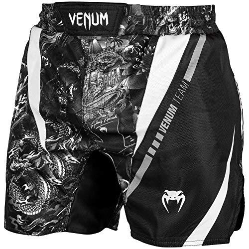 Venum MMA Fight Shorts Art - Schwarz/Weiß - No Gi Jiu Jitsu Fight Fitness Grappling Shorts Kurze Kampfsporthose für Herren (L) -