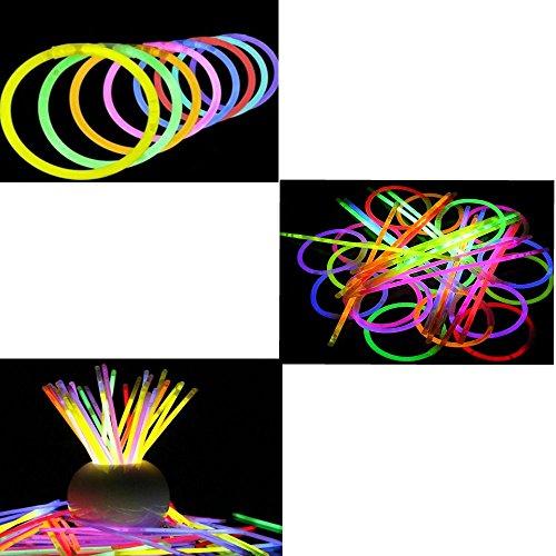 Preisvergleich Produktbild Knicklichter LED Armbänder 200 x 5 mm, Leuchtstäbe in 7 Farben 100 Stk.