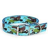 KDSANSO Weich und bequem Hundehalsband Doppelseitige Tarnung Verstellbare Größen PU-Material Sicherheit und Komfort für Haustiere Blau 53 * 2.3cm