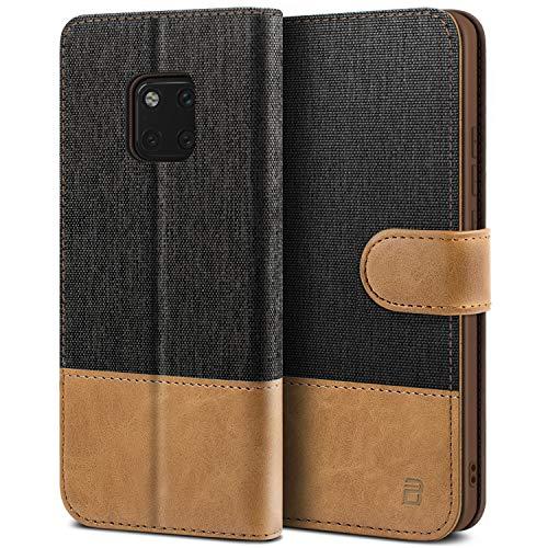 BEZ Hülle für Huawei Mate 20 Pro Handyhülle, Tasche Kompatibel für Huawei Mate 20 Pro, Handytasche Schutzhülle [Stoff & PU Leder] mit Kreditkartenhalter, Schwarz