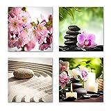 Feng Shui Bilder Set A schwebend, 4-teiliges Bilder-Set jedes Teil 29x29cm, Seidenmatte Optik auf Forex, moderne Optik, UV-stabil, wasserfest, Kunstdruck für Büro, Wohnzimmer, XXL Deko Bild