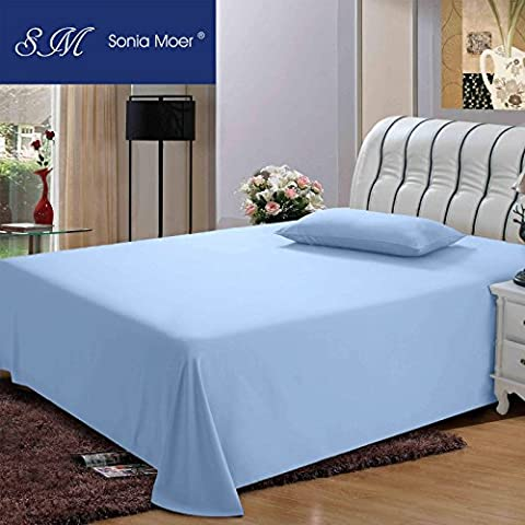 Premium Polycotton 200 Thread Count Flat Sheet by Sonia Moer, (Double, Sky Blue)