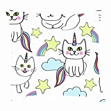 dfgi Repeat Happy caticorns Cat Animals Wildlife All Overthrow Pillow Covers Cotton Linen Cushion Cover Cases Pillowcases Sofa Home Decor 18'x 18'inch (45 x 45cm)