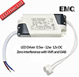 LED Driver Transformer 240V - 12V including MR16 connector / 240v AC to 12v DC / 0.5w - 12w / ZERO Interference with Dab and Wifi