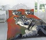 ANIMAL PRINT para edredón con cama de todos los tamaños, lobo, matrimonio grande
