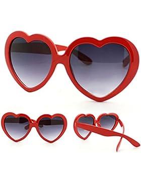 Divertenti occhiali da sole estivi retro a forma di cuore Gemini_mall® per feste in maschera, Red