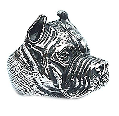 erren Ring Shar Pei Dog Bulldog Punk kühle Art 2.19cm ()