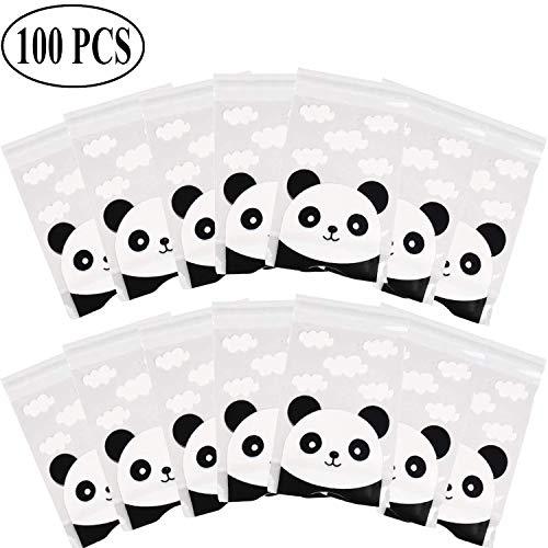 okies Tasche, Panda Muster Klar Behandeln Kunststoff Cello Taschen für Cookie Bakery Candy Keks Geschenk Verpackung ()